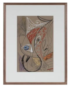 Surrealist Abstract in Graphite & Pastel, Late 20th Century