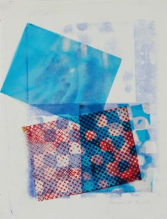 Mixed Media Abstract Collage in Blue, 1969
