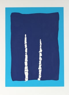 """""""Toys in Blue"""" Abstract Serigraph on Paper"""