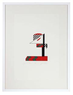 """""""Signal Three"""" Checkered Abstract Serigraph, 1978"""