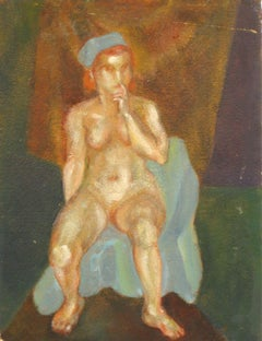 1930s Female Nude Oil on Board