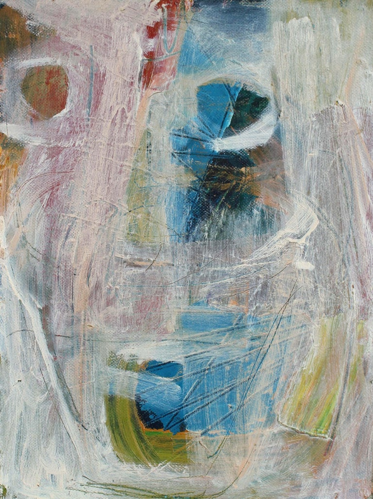 1950s Mid Century Modernist Abstract in Blue and Pink, Oil Painting