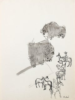 1980s Modernist Cowboy and Buffalo Illustration in Ink