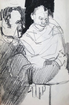 1950s Sketch of Two Figures in Charcoal