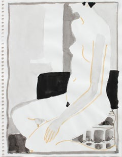 20th Century Ink Wash of Female Figure in Gray and Yellow