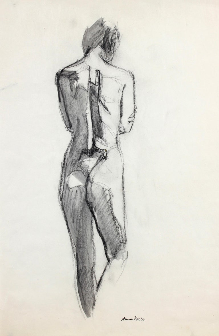 Full Figure from Behind, Graphite on Paper Drawing, Late 20th Century