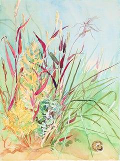 "1980s ""Autumn Grasses"" Landscape in Watercolor"