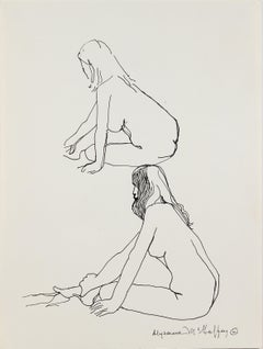 Two Modernist Woman figures Graphite, 1950s-1960s