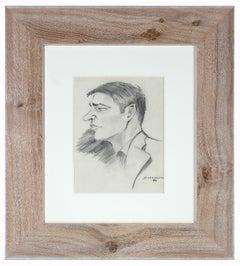 "Portrait of a Man Entitled ""Diebenkorn"", Graphite on Paper"