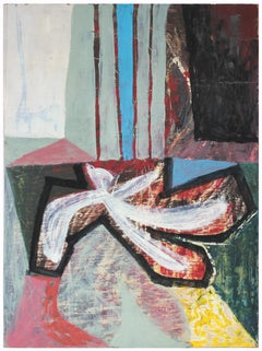 1950s Mid Century Modernist Abstract in Red and Blue, Oil Painting
