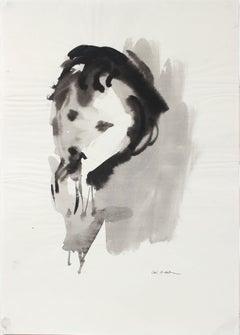 Mid 20th Century Portrait in Ink Wash