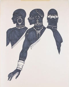 1970s Drawing of Three Figures in Ink