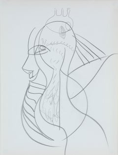 Psychedelic Portrait in Graphite, Late 20th Century