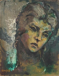 20th Century Portrait of Woman in Oil