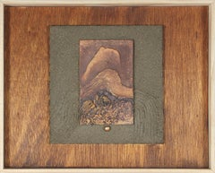 1995 Mixed Media Sculptural Painting in Metallic Paint & Cement