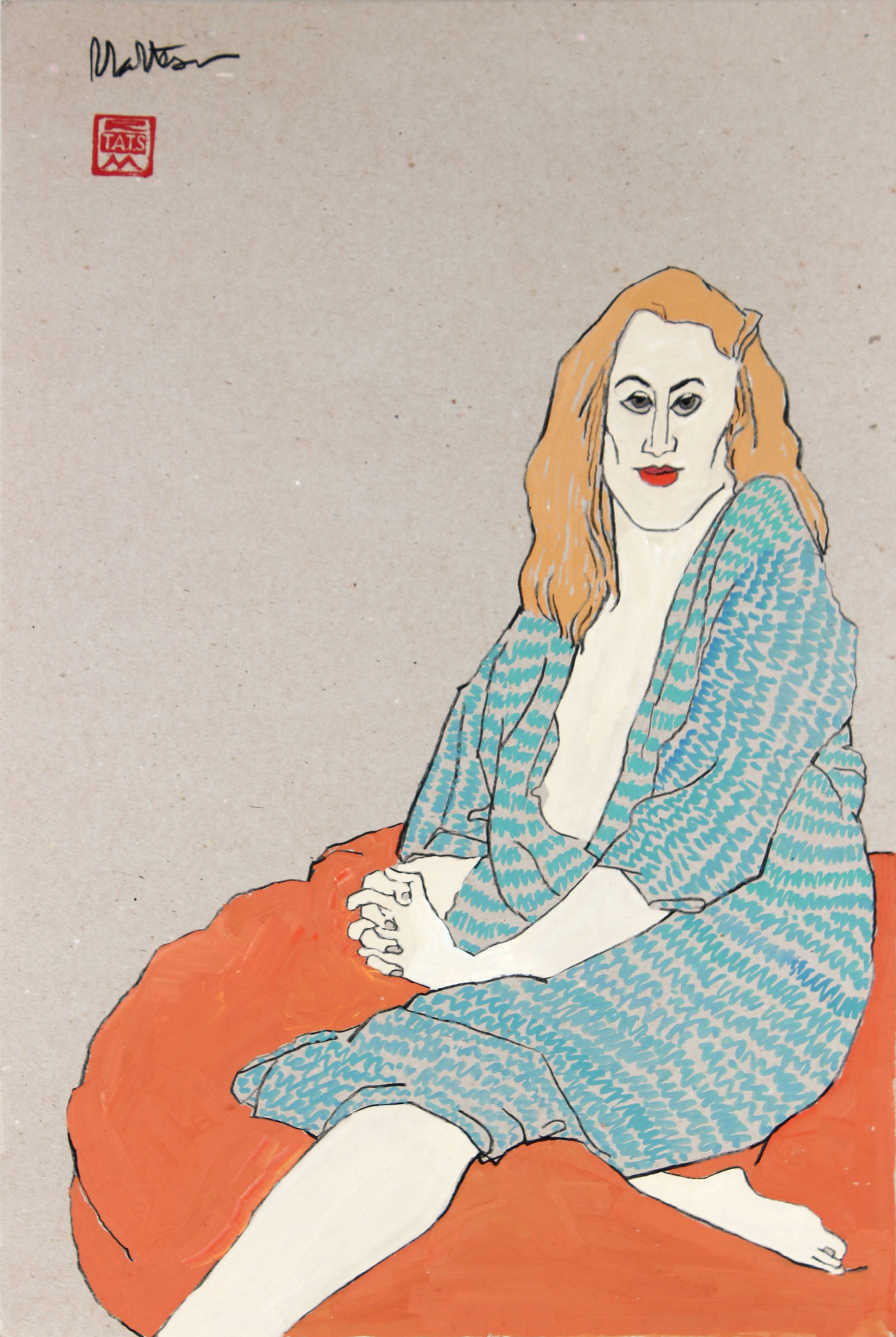 90's Female with Robe Seated on Pillow in Gouache and Graphite