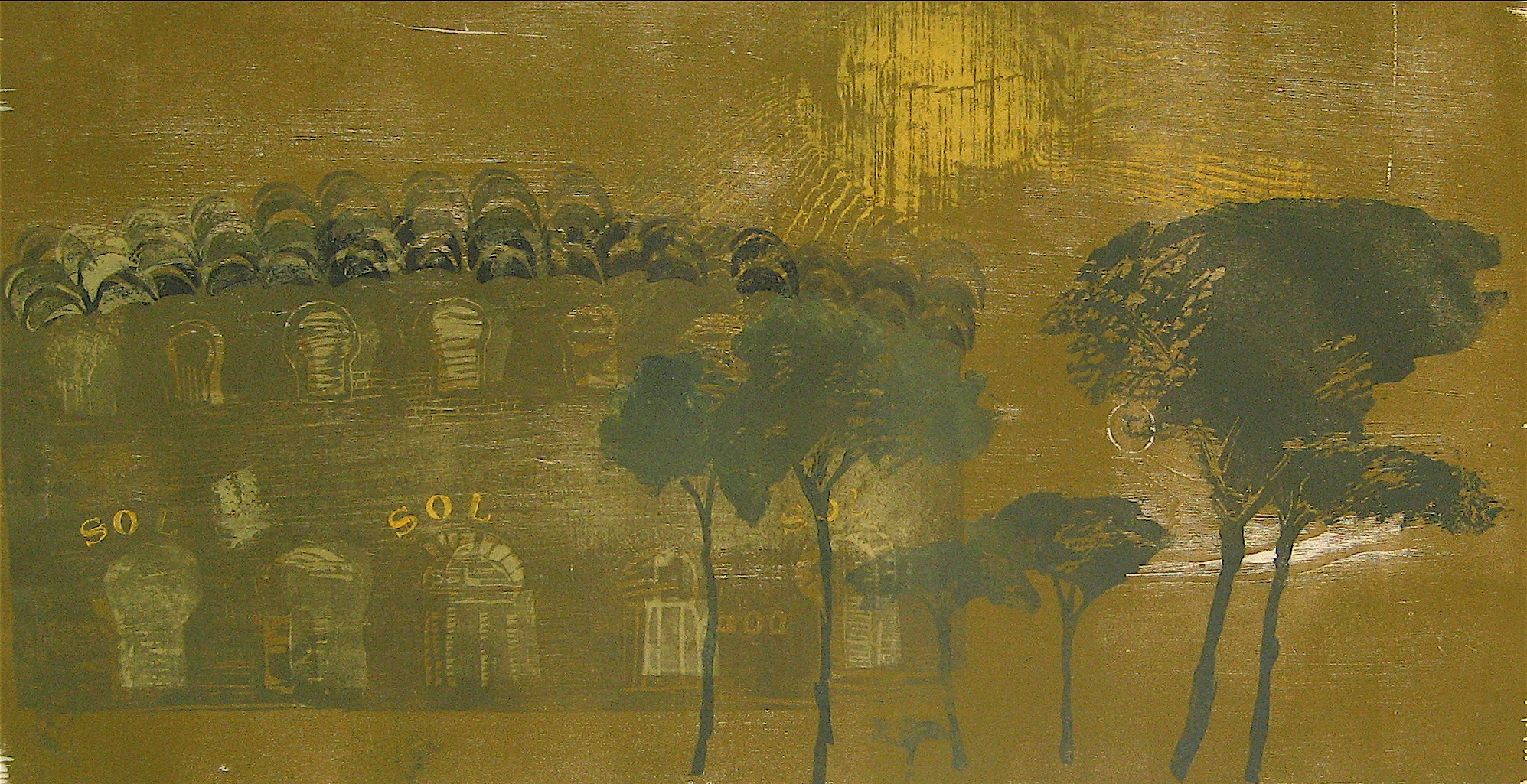 """Bullfight in the Coliseum, Spain"" 1962 Large Woodcut Print in Green"