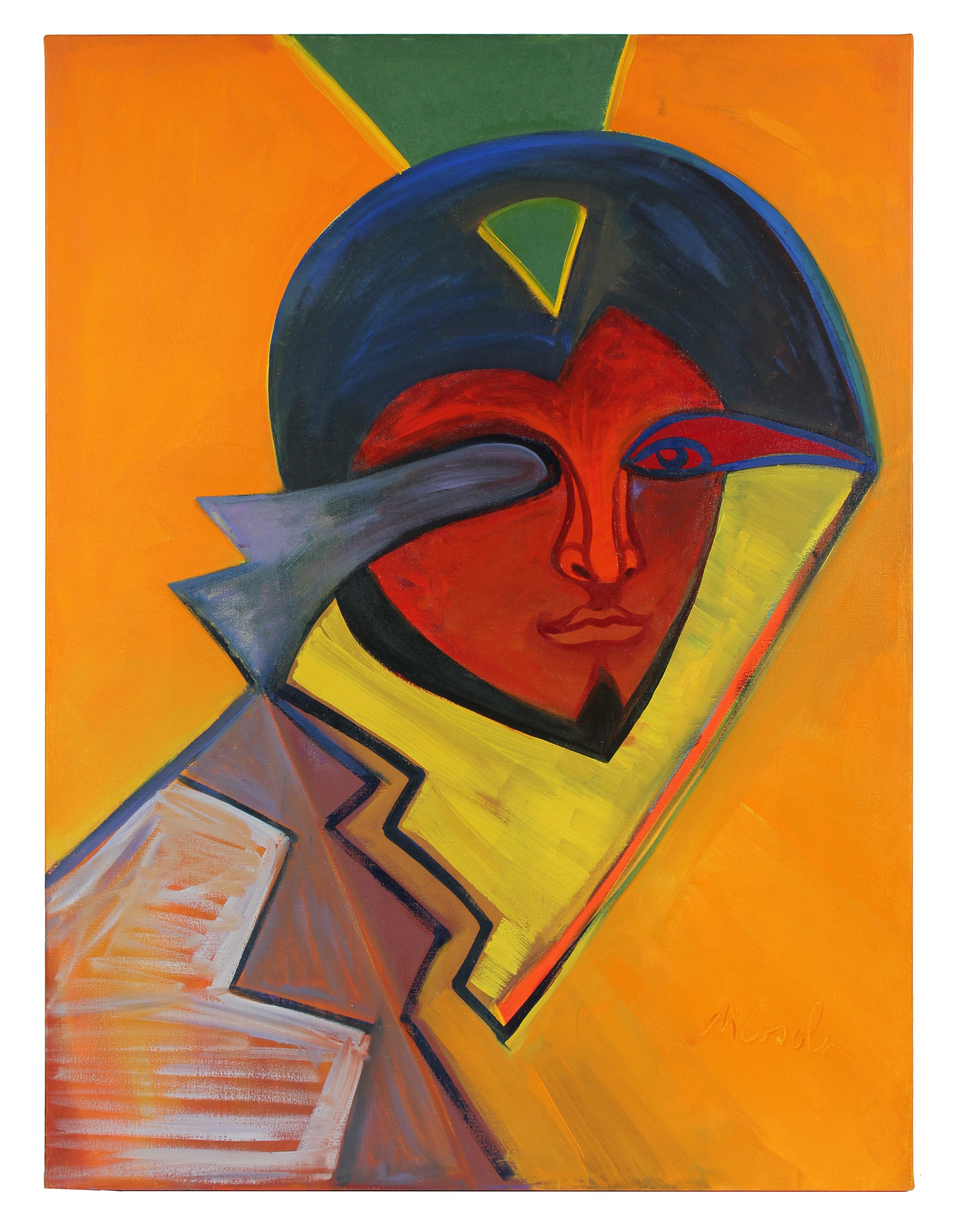 Large Colorful Abstracted Portrait in Oil on Canvas, 20th Century