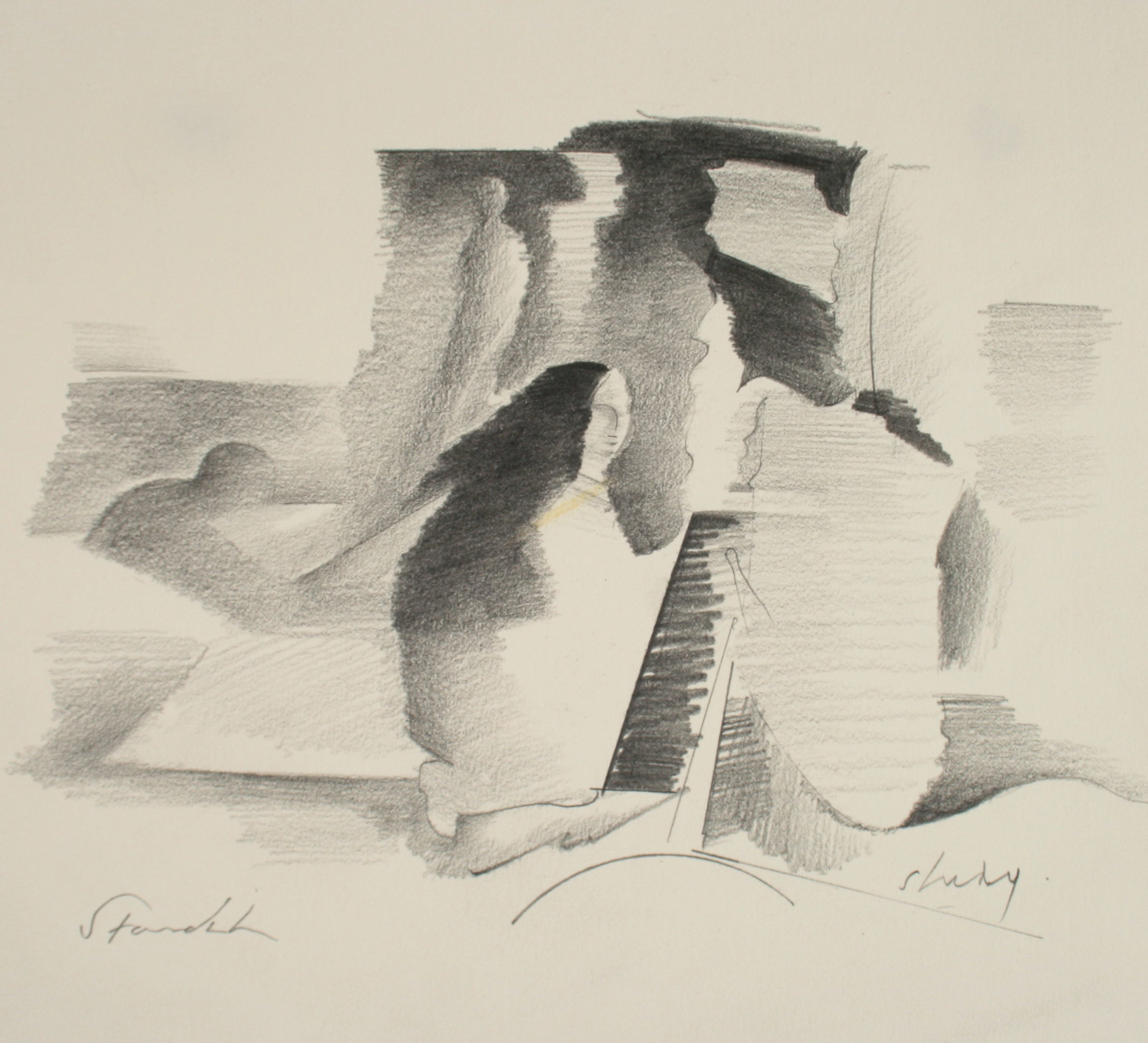 Abstracted Rocky Landscape Late 20th Century Graphite