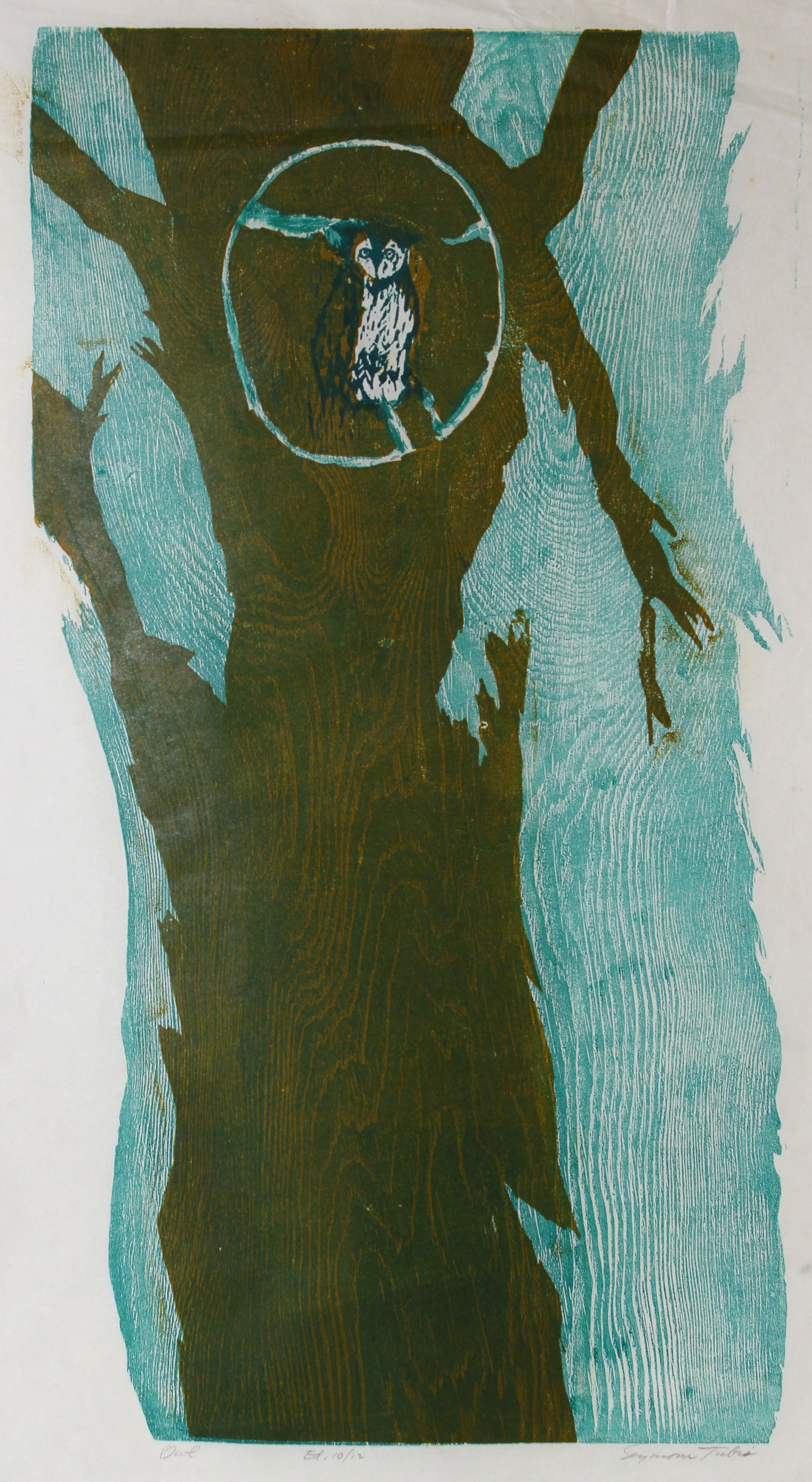 """""""Owl"""" 1950s Woodcut with Blue"""