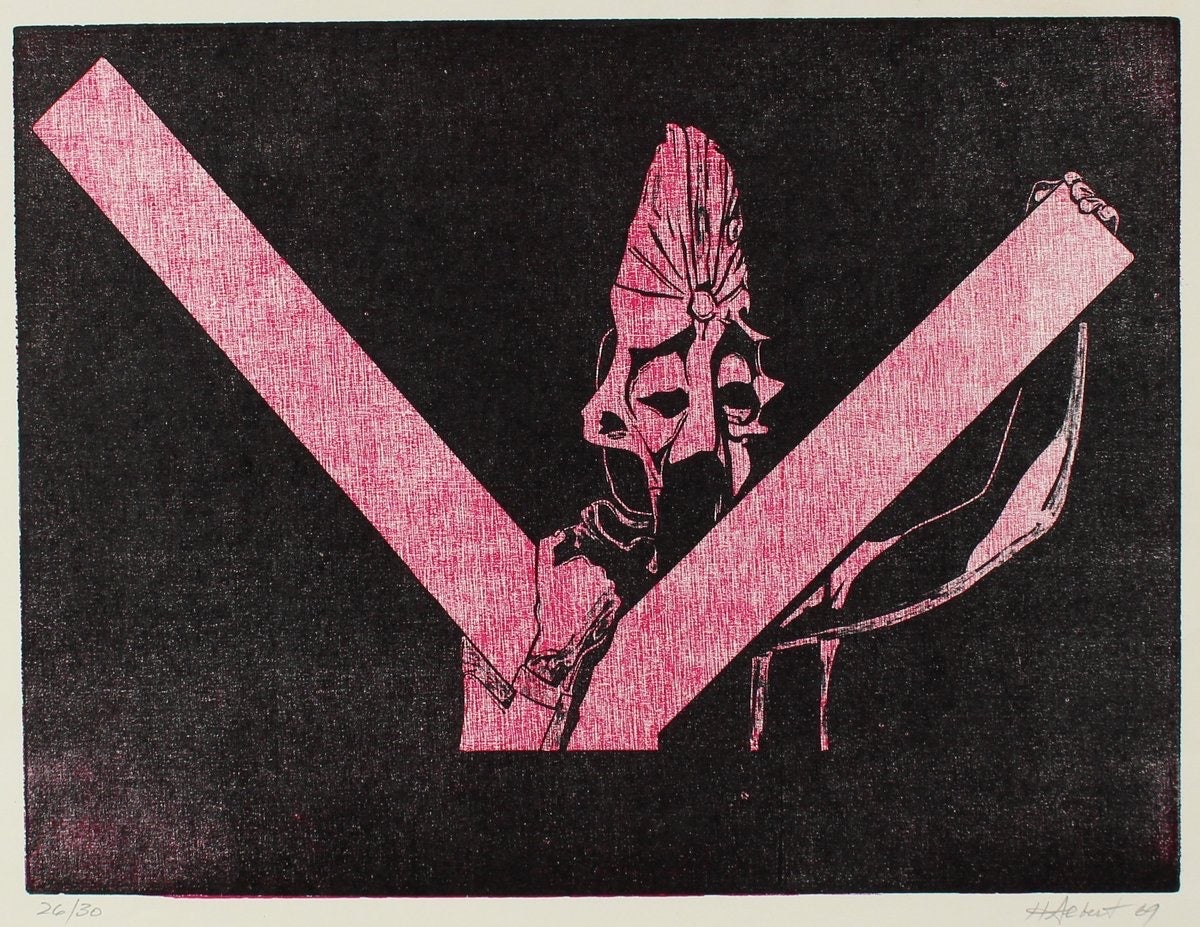 Figurative Woodcut in Pink & Black 1969