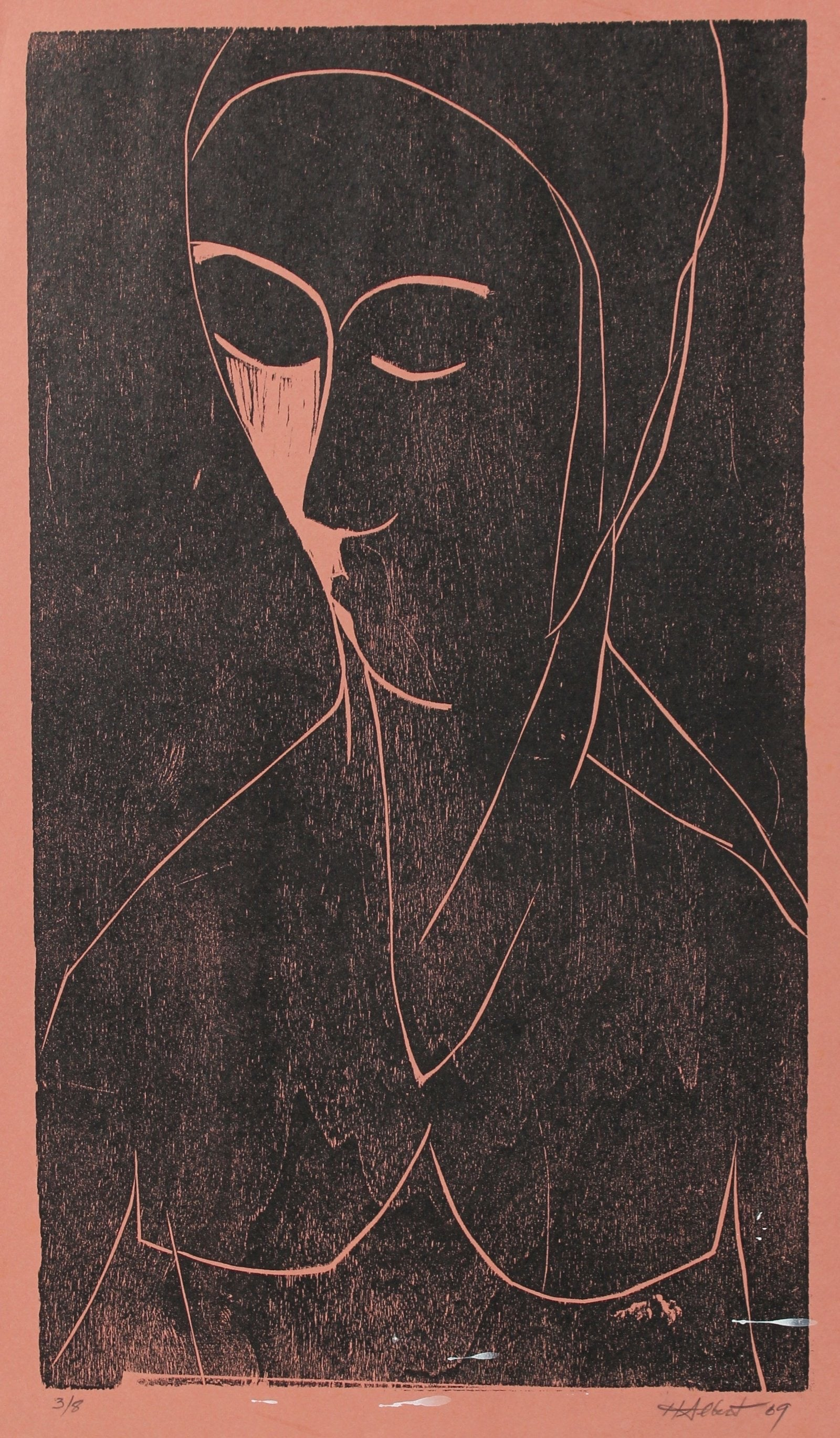 Abstracted Figure in Pink 1969 Woodcut
