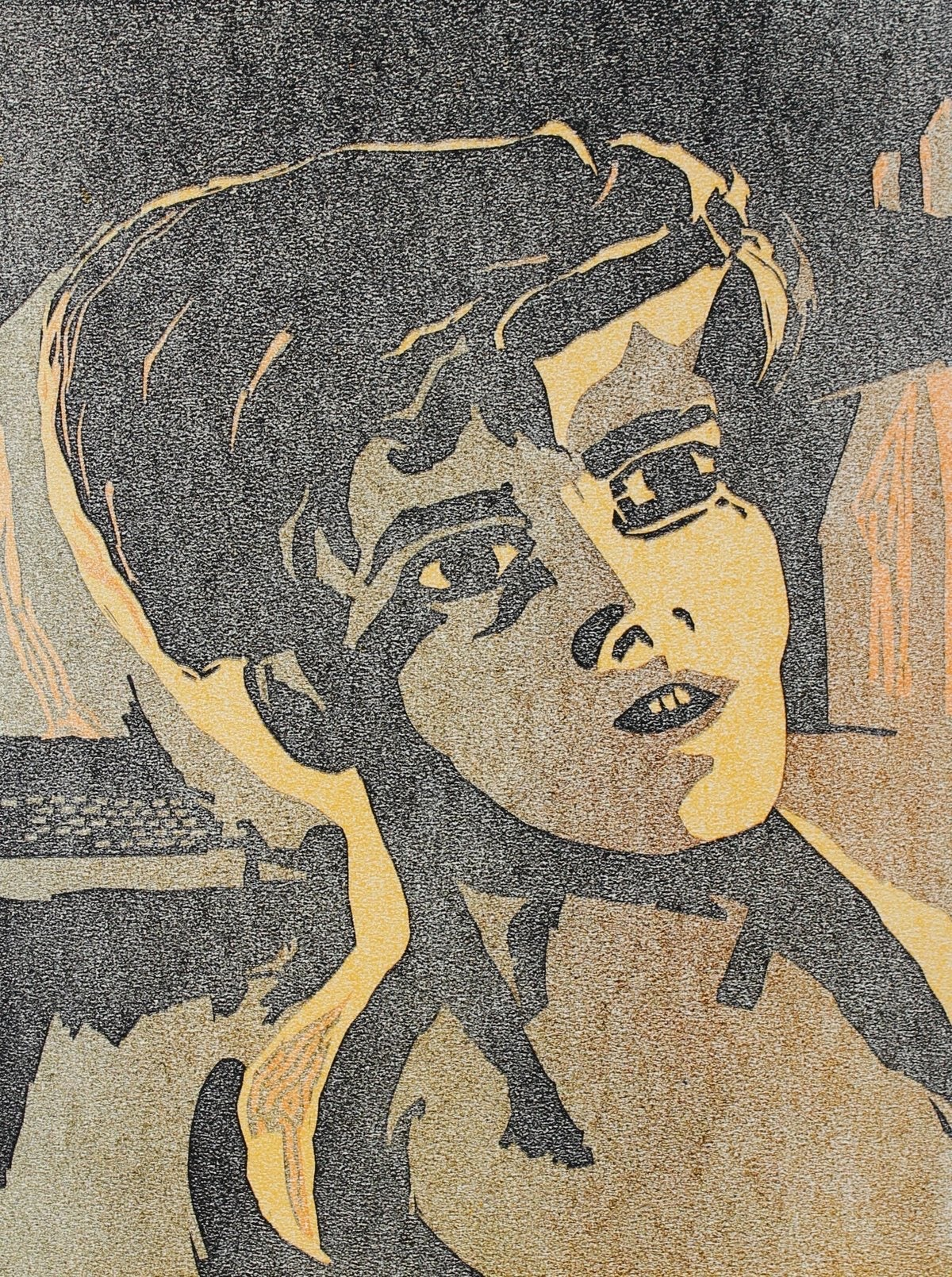 Mid Century Woodcut Portrait of a Boy