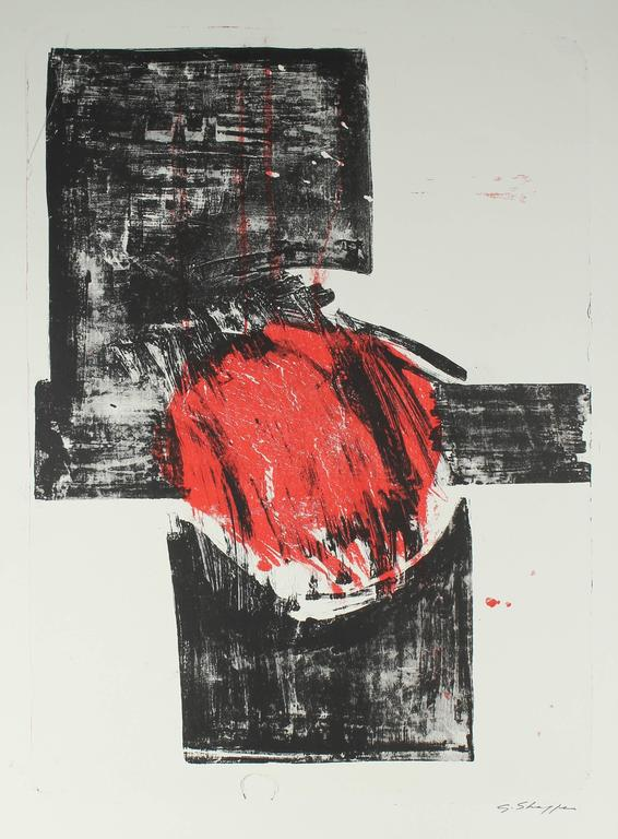 Abstract Expressionist Stone Lithograph, 1965