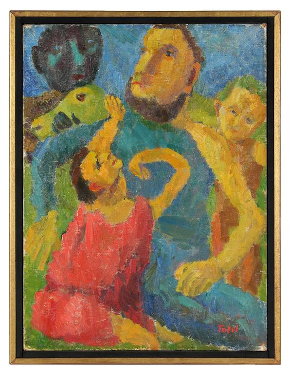 """""""Sacrifice of Isaac"""" Expressionist Oil Painting, 1955"""