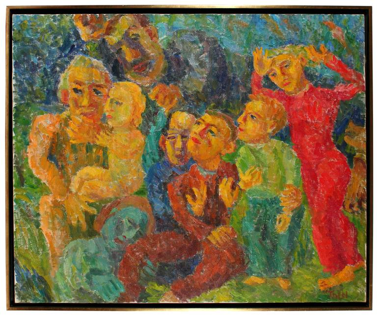"""""""Hold Back the Fury"""", Large Expressionist Scene in Oil, 1958"""