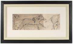 Mid Century Horse Race in Ink by Jack Freeman
