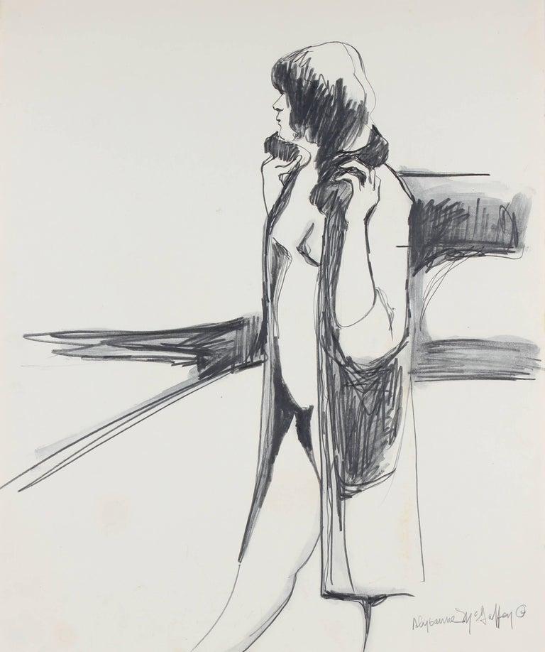 Alysanne McGaffey Nude - Bay Area Figurative Sketch in Graphite, Circa 1960