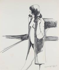 Mid Century Figurative Sketch with Fox Fur by A. McGaffey