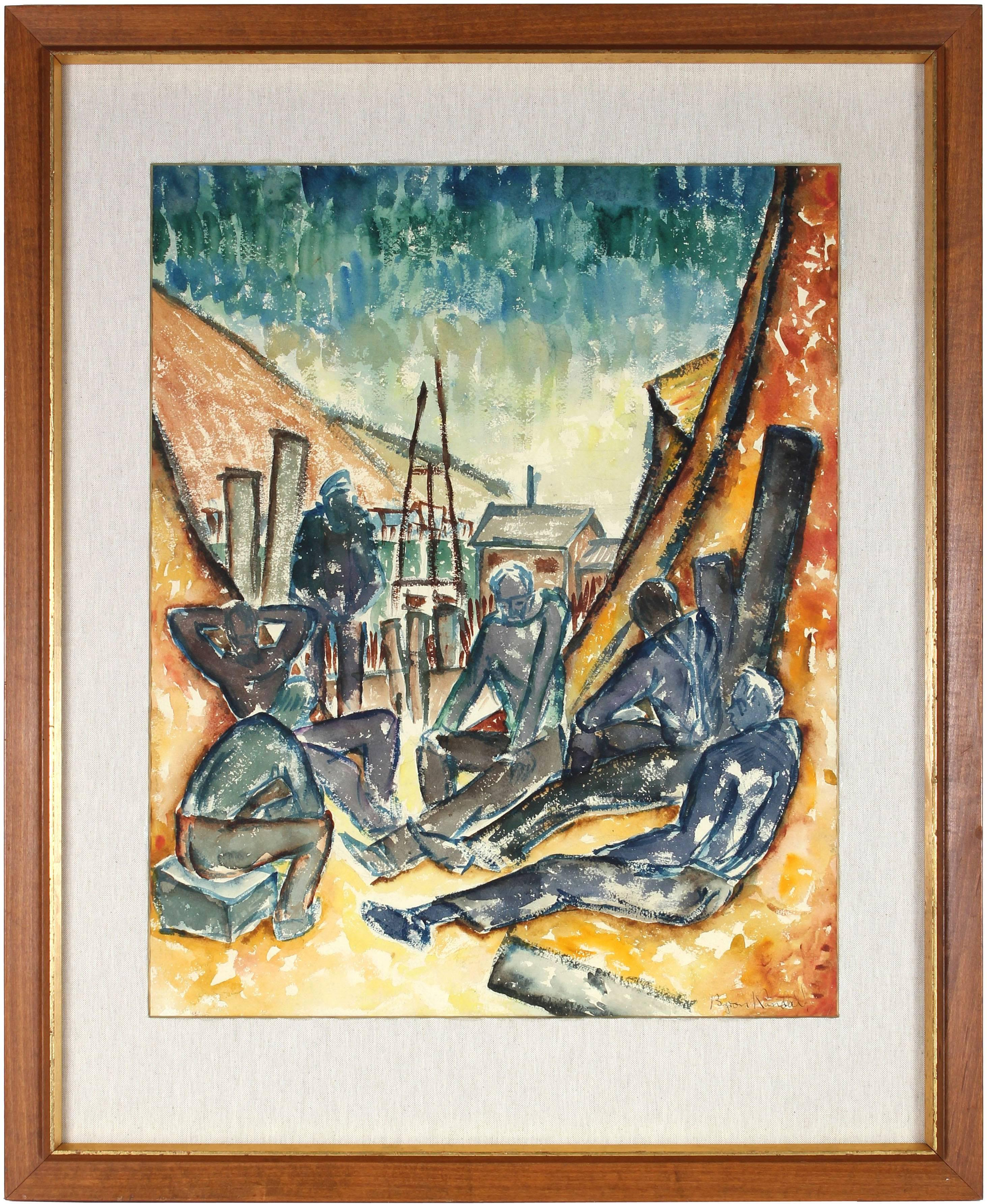 """""""Six Men By the Sea"""" Modernist Watercolor Painting, 1937"""