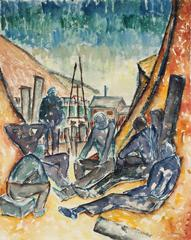 """""""Six Men By the Sea"""" Framed Modernist Watercolor, 1937"""