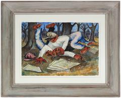"""Expressionist Mexico City Scene, """"Paper Boys Wrestling"""" by Byron Randall"""