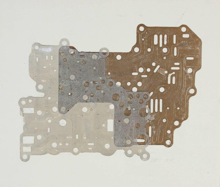 Seymour Tubis Abstract Print - Metallic Circuit Board Collograph Print, 1974