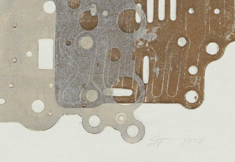 Metallic Circuit Board Collograph Print, 1974 - Gray Abstract Print by Seymour Tubis