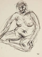 Expressionist Ink Nude Drawing, Circa Mid 20th Century