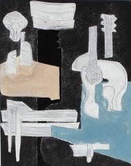 "Contemporary Mixed Media, ""Still Life with Guitar"""