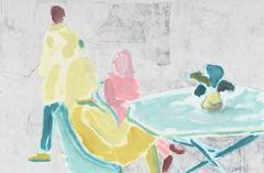 "Contemporary Monoprint ""New York Cafe II"""