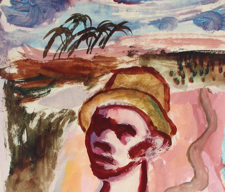Expressionist Fiji Island Scene - Painting by Byron Randall