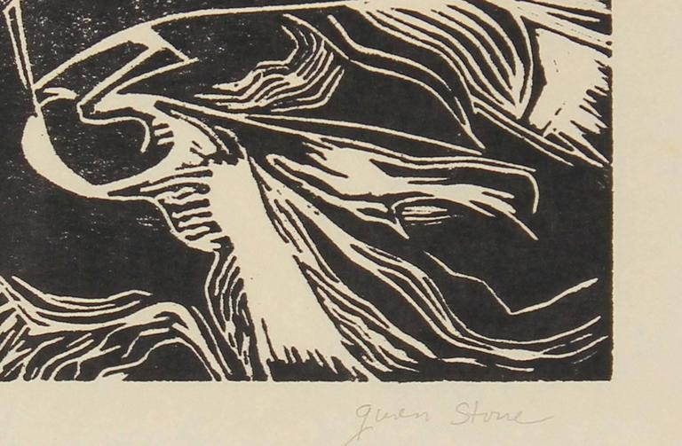 Monochromatic Linocut Abstract, Late 20th Century - Print by Gwen Stone