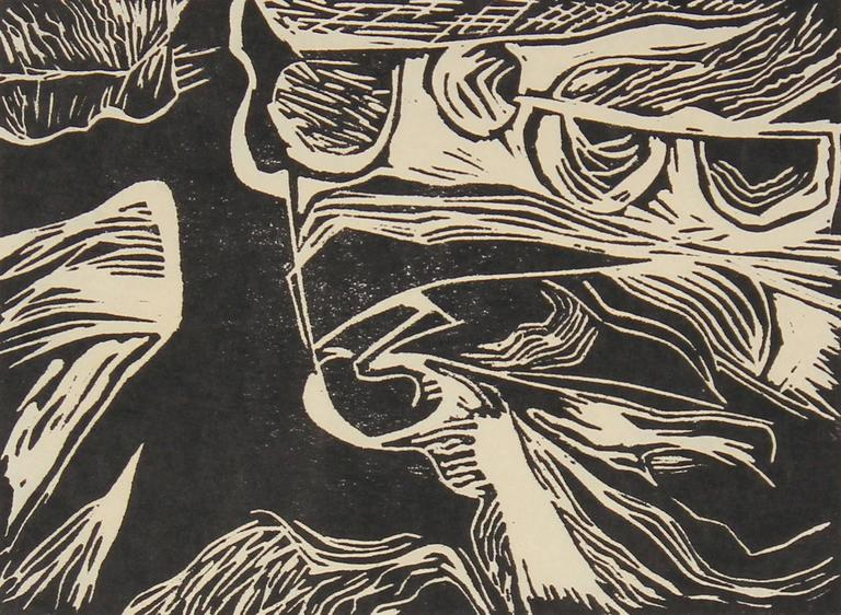 Monochromatic Linocut Abstract, Late 20th Century - Beige Abstract Print by Gwen Stone