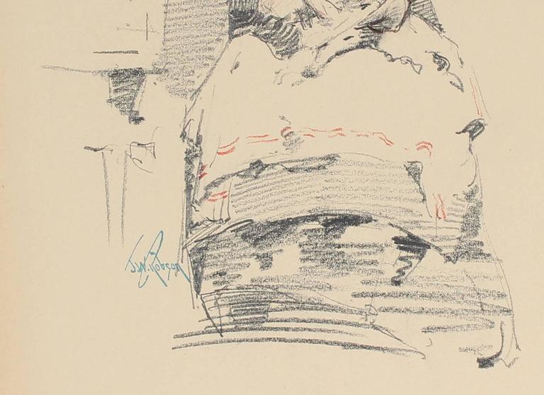 Seated Parisian Woman, Charcoal Drawing, Circa 1905 - Art by John Whitworth Robson