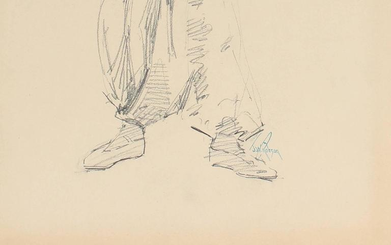 Parisian Male Figure, Charcoal Drawing, Circa 1905 - Art by John Whitworth Robson