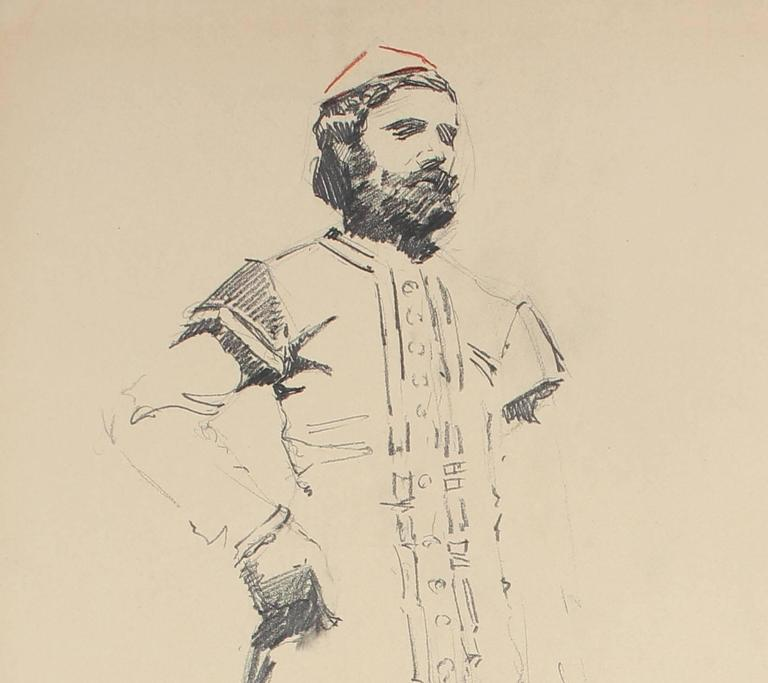 Parisian Male Figure, Charcoal Drawing, Circa 1905 - Academic Art by John Whitworth Robson