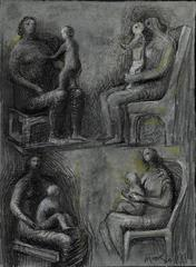 Seated Mother & Child: Four Studies