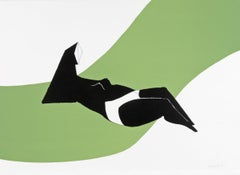 Reclining Figure on Green Wave - 20th Century, Print by Lynn Chadwick