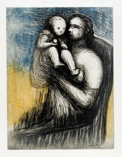 Mother and Child XXV - 20th Century, Print by Henry Moore